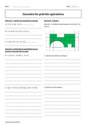 Connaitre les priorités opératoires - Exercices à imprimer : 1ere Secondaire