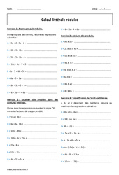 Calcul littéral - Réduire - Exercices corrigés : 1ere Secondaire