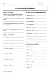 Développer - Distributivité - Exercices corrigés : 1ere Secondaire