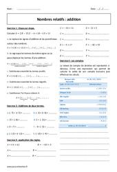 Nombres relatifs - Addition - Exercices corrigés : 1ere Secondaire
