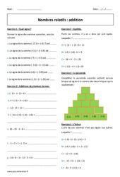 Addition des nombres relatifs - Exercices avec correction : 1ere Secondaire