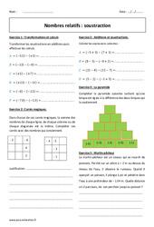 Nombres relatifs - Soustraction - Exercices à imprimer : 1ere Secondaire