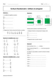 Utiliser et comparer - Ecriture fractionnaire - Exercices corrigés : 1ere Secondaire