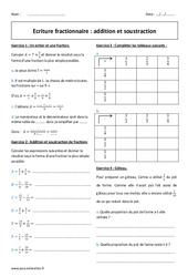 Ecriture fractionnaire - Addition - Soustraction - Exercices : 1ere Secondaire