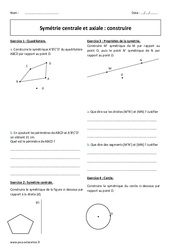 Centrale et axiale - Exercices à imprimer sur la symétrie : 1ere Secondaire
