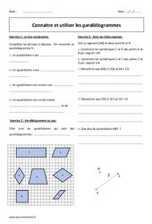 Parallélogrammes - Exercices avec correction sur les quadrilatères : 1ere Secondaire