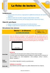 La fiche de lecture - Textes informatifs - Production d'écrit - Fiche de préparation : 4eme, 5eme Primaire