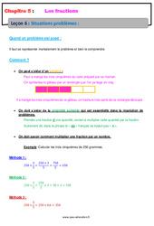 Situations problèmes - Cours - Les fractions : 6eme Primaire