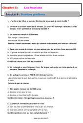 Situations problèmes - Révisions - Exercices avec correction - Les fractions : 6eme Primaire