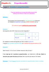 Grandeurs proportionnelles - Cours - Proportionnalité : 6eme Primaire