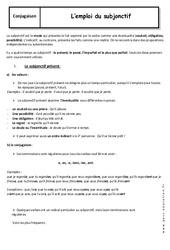 Emploi du subjonctif - Cours : 3eme Secondaire