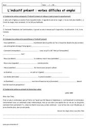 Indicatif présent - Verbes difficiles - Exercices corrigés : 3eme Secondaire