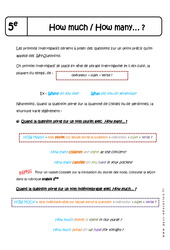 How much - How many…? - Cours : 1ere Secondaire