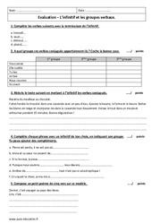 Infinitif et groupes verbaux - Examen Contrôle : 6eme Primaire