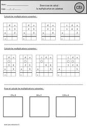Multiplication en colonnes - Révisions à imprimer : 2eme Primaire