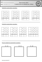 Soustraction en colonnes avec retenue - Révisions à imprimer : 1ere Primaire