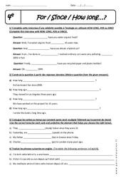 How long - For - Since - Exercices à imprimer : 2eme Secondaire