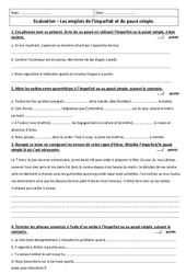 Imparfait - Passé simple - Examen Contrôle avec le corrigé : 6eme Primaire