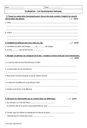 Homonymes lexicaux - Examen Evaluation à imprimer : 6eme Primaire