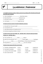Preferences - Exercices à imprimer : 2eme Secondaire