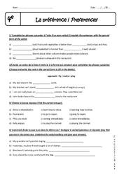 Préférence - Exercices corrigés : 2eme Secondaire