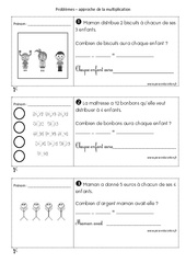 Multiplicatifs - Problèmes à imprimer : 1ere Primaire
