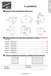 Exercices, révisions sur mesurer le périmètre au  avec les corrections : 5eme Primaire