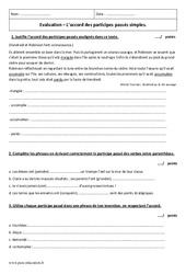 Accord des participes passés simples - Examen Evaluation : 1ere Secondaire