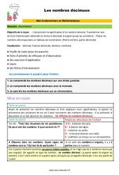 Les nombres décimaux - SEGPA - EREA - Décrochage scolaire : 4eme, 5eme, 6eme Primaire