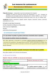Les mesures de contenances - SEGPA - EREA - Décrochage scolaire : 4eme, 5eme, 6eme Primaire