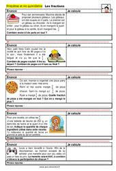 Les fractions - SEGPA - EREA - Problèmes et vie quotidienne : 4eme, 5eme, 6eme Primaire