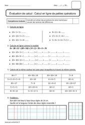 Calcul en ligne de petites opérations - Bilan : 2eme Primaire