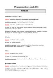 Programmation Annuelle - Anglais - Progressions - Toutes les périodes : 2eme Primaire