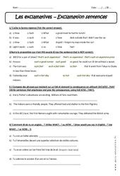 Exclamatives - Exercices corrigés : 3eme Secondaire