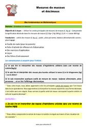 Les mesures de masses et décimaux - SEGPA - EREA - Décrochage scolaire : 4eme, 5eme, 6eme Primaire