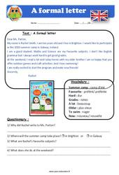 A formal letter - Anglais - Lecture - Level 4 : 4eme, 5eme Primaire