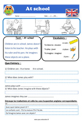 At school - Anglais - Lecture - Level 1 : 2eme, 3eme, 4eme, 5eme Primaire