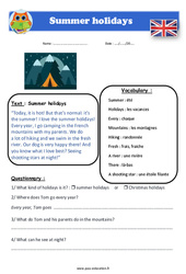 Summer holidays - Anglais - Lecture - Level 3 : 4eme, 5eme Primaire
