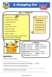 A shopping list - Anglais - Lecture - Level 4 : 4eme, 5eme Primaire