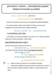 Style direct et indirect - Verbes introductifs au présent - Cours : 3eme Secondaire