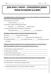 Verbes introductifs au présent - Style direct et indirect - Exercices : 3eme Secondaire