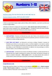 Numbers 1 to 10 - Anglais - Lexique - Séquence complète : 4eme, 5eme Primaire