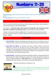 Numbers 11 to 20 - Anglais - Lexique - Séquence complète : 4eme, 5eme Primaire