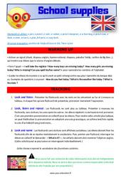 School supplies - Anglais - Lexique - Séquence complète : 4eme, 5eme Primaire