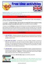 Free time activities - Anglais - Lexique - Séquence complète : 4eme, 5eme Primaire