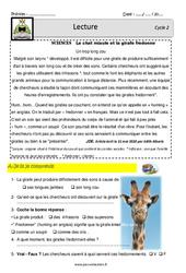 La girafe - Un trop long cou - Lecture - Documentaire (sciences) - EDL : 2eme, 3eme Primaire