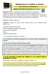 Multiplications à 2 chiffres et divisons - SEGPA - EREA - Décrochage scolaire : 4eme, 5eme, 6eme Primaire