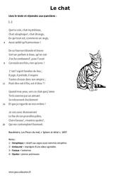 Le chat de Charles Baudelaire - Lecture - poésie : 6eme Primaire