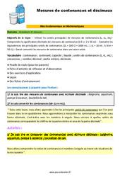Les mesures de contenance et décimaux - SEGPA - EREA - Décrochage scolaire : 4eme, 5eme, 6eme Primaire