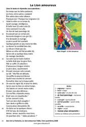 Le Lion amoureux - Lecture - poésie : 6eme Primaire
